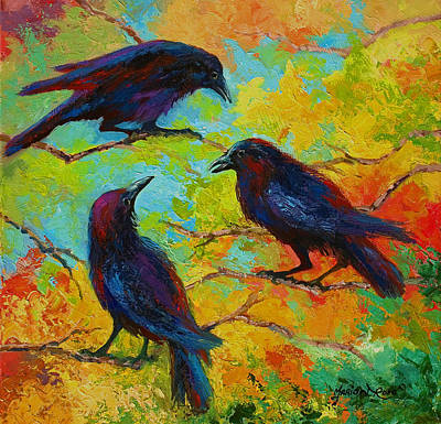 Western Wildlife Art Painting - Roundtable Discussion - Crows by Marion Rose