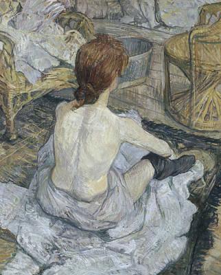 Topless Painting - Rousse by Henri de Toulouse-Lautrec