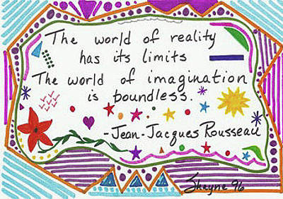 Drawing - Rousseau Doodle Quote by Susan Schanerman