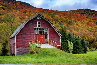 Photograph - Route 100 Red Barn by Jeff Folger