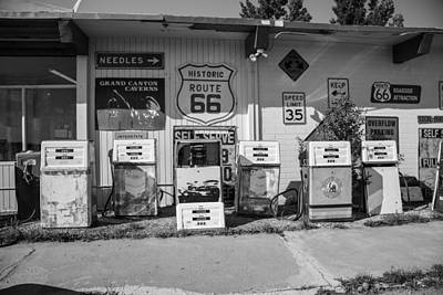 Photograph - Route 66 Black And White Gas Station by John McGraw