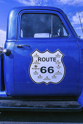 Route 66 Blue Truck Art Print by Garry Gay