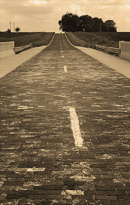 Print featuring the photograph Route 66 - Brick Highway 2 Sepia by Frank Romeo