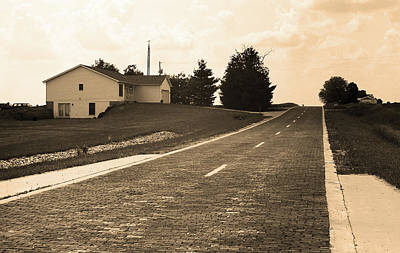 Print featuring the photograph Route 66 - Brick Highway Sepia by Frank Romeo