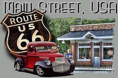 Route 66 Chevy At The Station Art Print by Paul Kuras