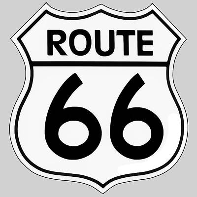 Digital Art - Route 66 Sign by Chuck Staley