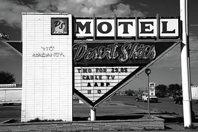 Gallup Photograph - Route 66 - Desert Skies Motel Bw by Frank Romeo