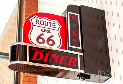 Photograph - Route 66 Diner Sign In Springfield by John Rizzuto