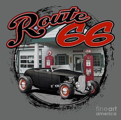 Route 66 Hot Rod Art Print
