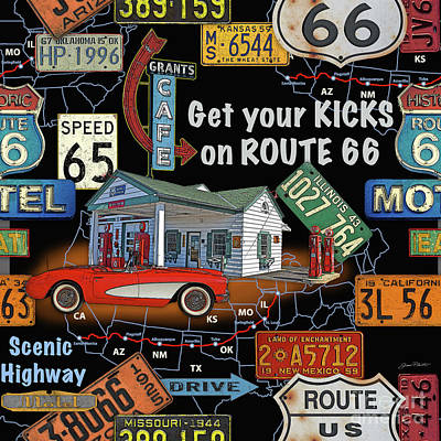 Route 66-jp3934 Art Print by Jean Plout