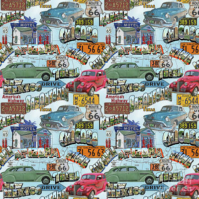 Typography Map Painting - Route 66-jp3938-b by Jean Plout
