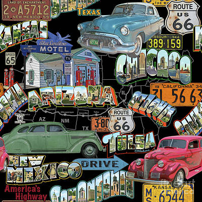 Route 66-jp3939 Art Print by Jean Plout