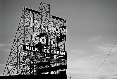 Photograph - Route 66 Meadow Gold Neon Sign - Tulsa Oklahoma - Black And White by Gregory Ballos
