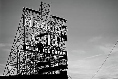 Route 66 Meadow Gold Neon Sign - Tulsa Oklahoma - Black And White Art Print