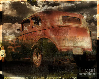 Rusted Cars Painting - Route 66 by Mindy Sommers