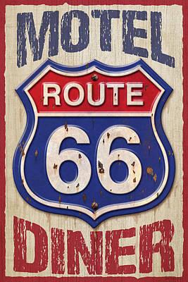 Digital Art - Route 66 Motel Diner by WB Johnston