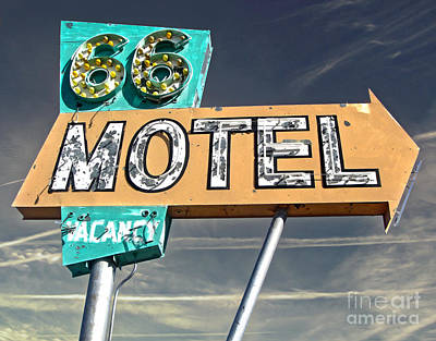 Route 66 Motel Sign Print by Gregory Dyer