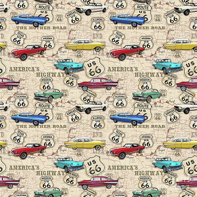 Mustang Car Painting - Route 66 Muscle Car Map-jp3961-b by Jean Plout