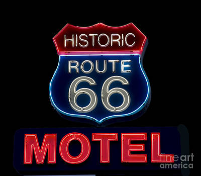 Route 66 Neon Sign Art Print
