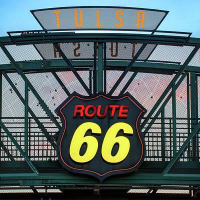 Photograph - Route 66 Neon Sign - Tulsa Oklahoma by Gregory Ballos