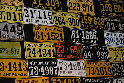 Blue Hues - Route 66 Oklahoma Car Tags by Susanne Van Hulst