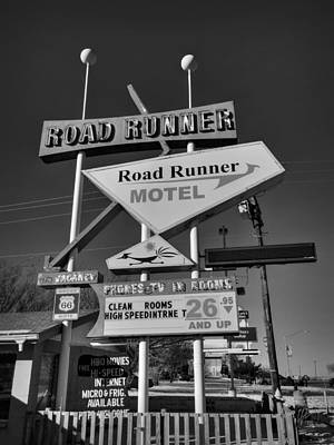 Photograph - Route 66 - Road Runner Motel 001 Bw by Lance Vaughn