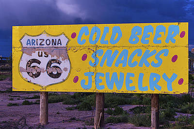 Photograph - Route 66 Road Sign Cold Beer by Garry Gay