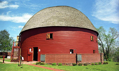 Route 66 - Round Barn Print by Frank Romeo