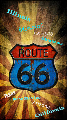 Digital Art - Route 66 by Rumiana Nikolova