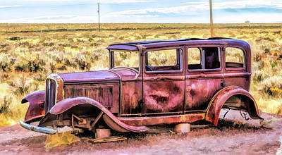 Painting - Route 66 Rusted 1932 Studebaker by Christopher Arndt
