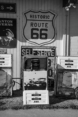 Photograph - Route 66 Sign And Gas Station Pump by John McGraw