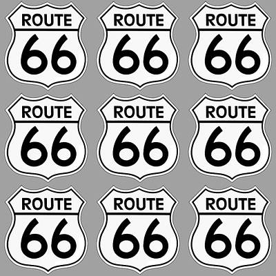 Digital Art - Route 66 Sign Tiles by Chuck Staley