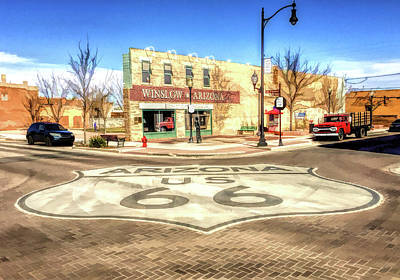 Painting - Route 66 Standing On The Corner In Winslow Arizona Street by Christopher Arndt