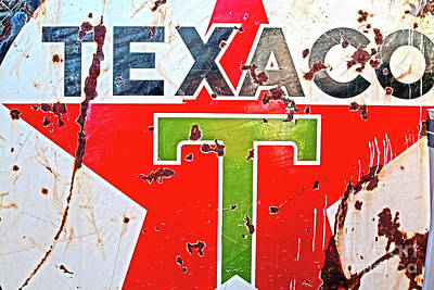 Red Photograph - Route 66-texaco by April Bielefeldt