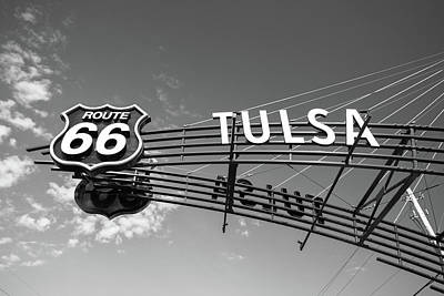 Photograph - Route 66 Tulsa - Black And White by Gregory Ballos