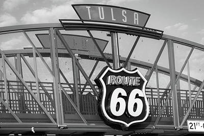 Photograph - Route 66 Tulsa Bridge - Avery Plaza In Black And White by Gregory Ballos