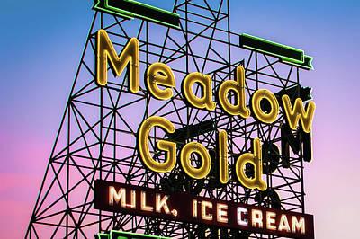Photograph - Route 66 Tulsa Meadow Gold Neon Sign by Gregory Ballos