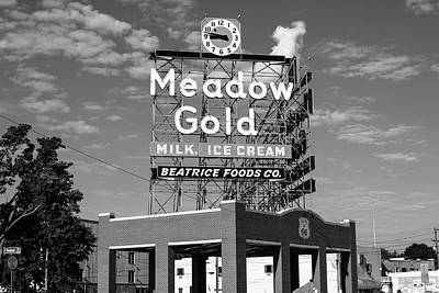 Photograph - Route 66 Tulsa Meadow Gold Vintage Sign  - Black And White by Gregory Ballos