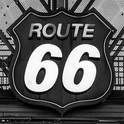 Photograph - Route 66 Vintage Neon Sign Black White by Gregory Ballos