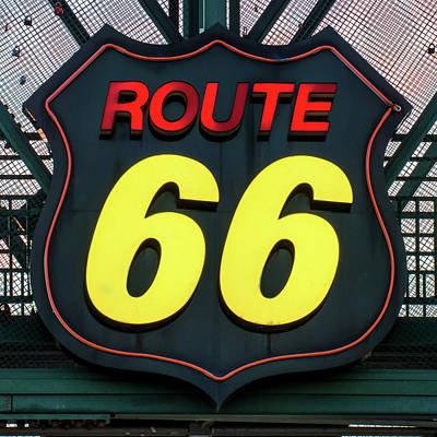 Photograph - Route 66 Vintage Neon Sign by Gregory Ballos