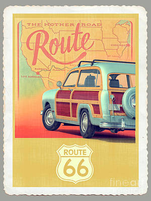 Digital Art - Route 66 Vintage Postcard by Edward Fielding