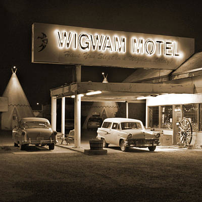 Highway Digital Art - Route 66 - Wigwam Motel by Mike McGlothlen