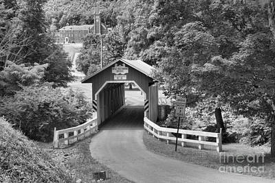 Photograph - Route 812 Coverd Bridge Black And White by Adam Jewell