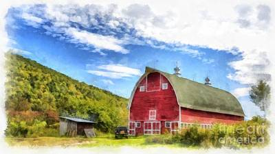 Country Setting Painting - Route Vermont Red Barn by Edward Fielding