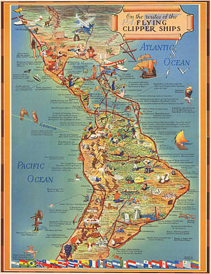 Royalty-Free and Rights-Managed Images - Routes of the Flying Clipper Ships - Pan American Airways - Vintage Pictorial Map by Studio Grafiikka