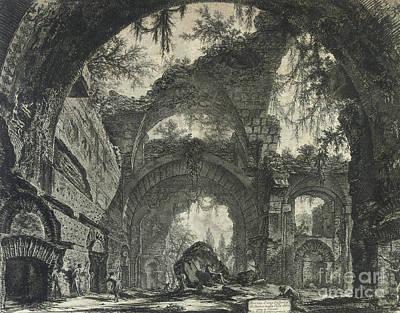 Ruin Drawing - Rovine D'una Galleria Di Statue Nella Villa Adriana A Tivoli  by Piranesi