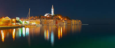 Painting - Rovinj Old Town Harbor Panorama by Lev Kaytsner