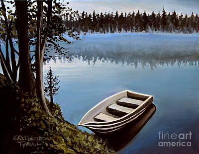 Boat Painting - Row Boat In The Fog by Elizabeth Robinette Tyndall