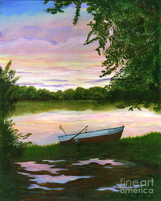 Art Print featuring the painting Row Boat Painting by Judy Filarecki