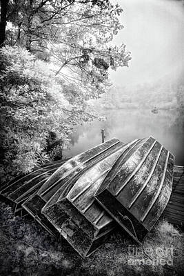 Photograph - Row Boats On Blue Ridge Parkway Price Lake Bw by Dan Carmichael